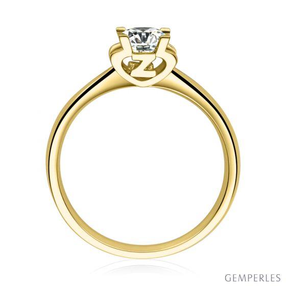 Bague lettre Z en or jaune et diamant 0.25ct | Gemperles