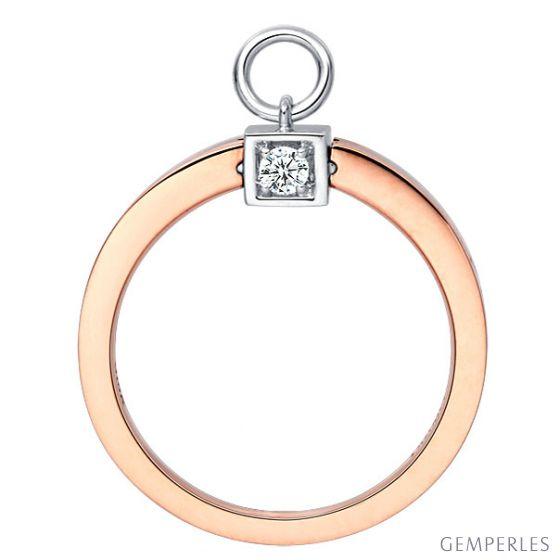 Solitaire pendentif - Bague de mariage en or blanc, rose et diamants | Gemperles - 3