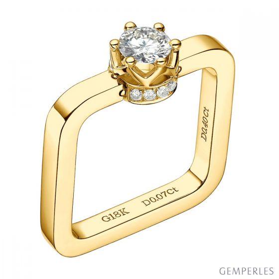 Bague pendentif solitaire carré - Or jaune, diamants | Léna