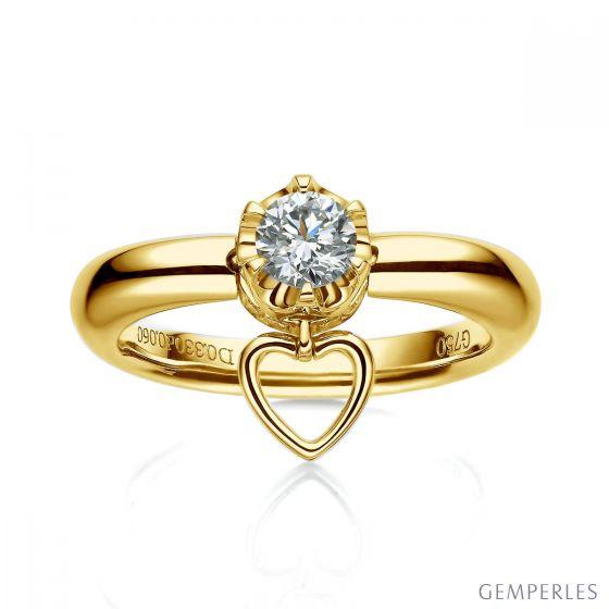 Bague or jaune diamant solitaire - Serti griffes et grains   Coeur de Solitaire