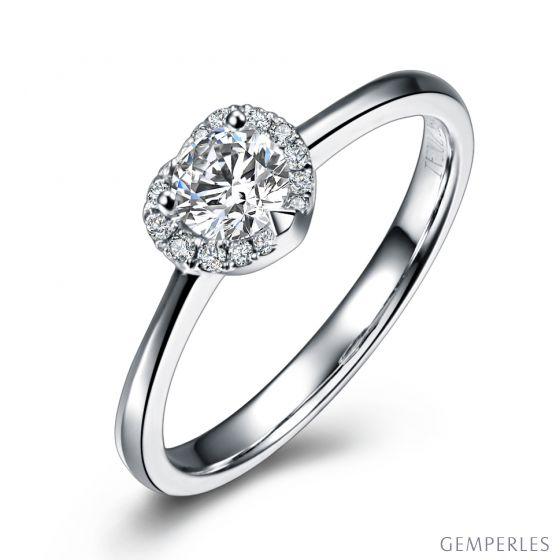 Anello di Fidanzamento Cuore di Diamante - Solitario Oro Bianco 18kt e Diamante   Gemperles