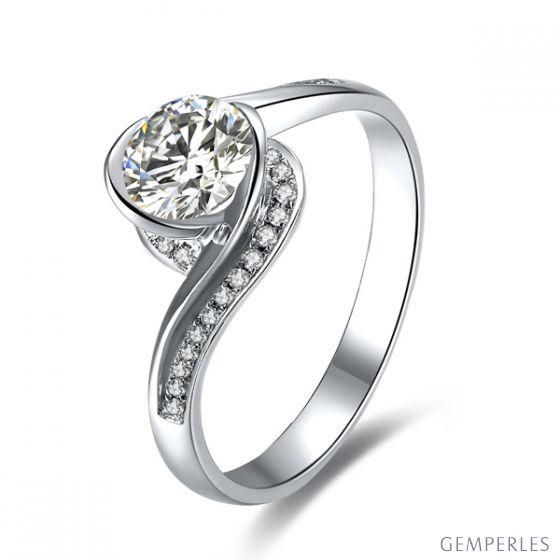 Diamants 0.57ct sur Solitaire Bague Or Blanc - A Une Madone | Gemperles