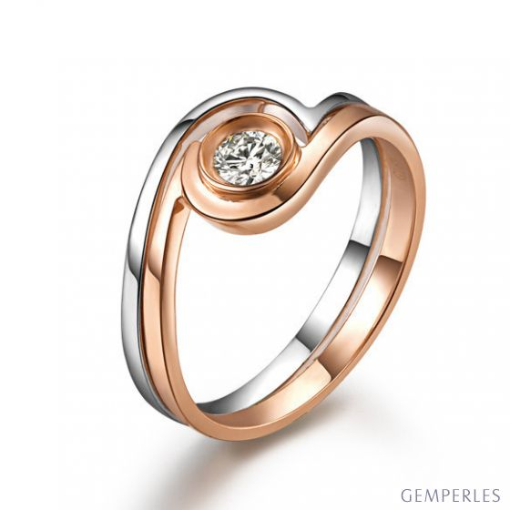 Solitaire diamant contemporain - 2 anneaux or rose et blanc | Gemperles - 2