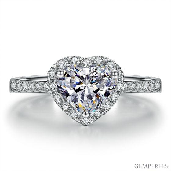 Bague Cœur Solitaire Love etc - Or Blanc 18 Carats - Diamants | Gemperles