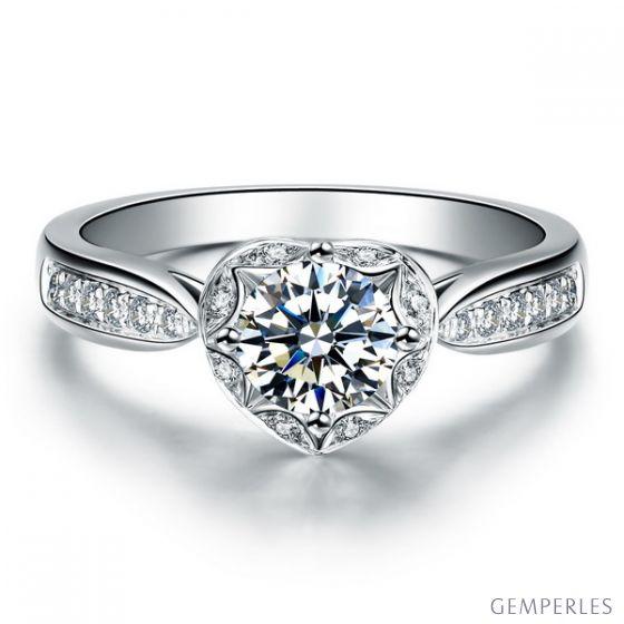 Bague Solitaire Your Best Friend - Or Blanc 18 Carats & Diamants   Gemperles