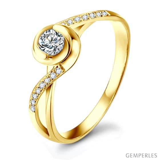 Bague Solitaire A Julie - Or Jaune & Diamants - Alfred de Musset | Gemperles