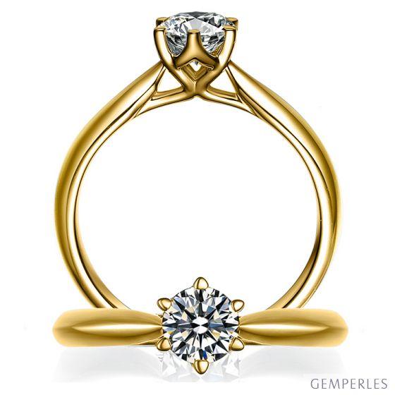 Solitaire Or Jaune, Diamant 0.25ct - L'Amour - Adélaïde DUFRÉNOY | Gemperles
