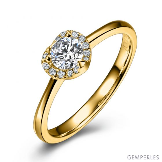 Solitaire Mon Coeur de Diamant - Or Jaune & Diamants Pavés | Gemperles