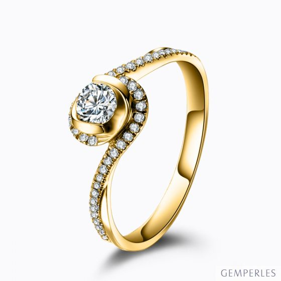 Solitaire Or Jaune & Diamants - Je t'appartiens | Gemperles
