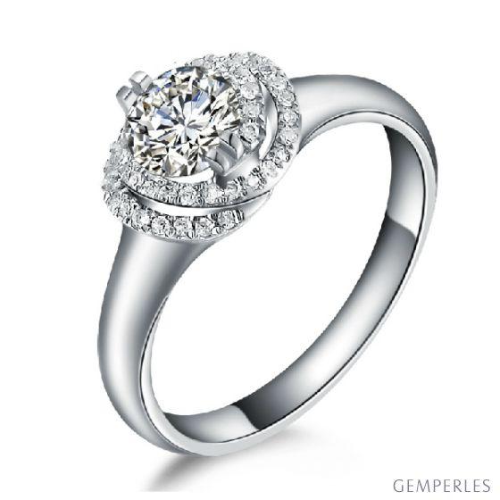 Bague Solitaire Gracieuse Majesté - Or Blanc & Diamants Enroulés | Gemperles