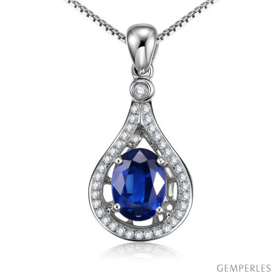 Saphir et diamant sur Or blanc - Pendentif oval