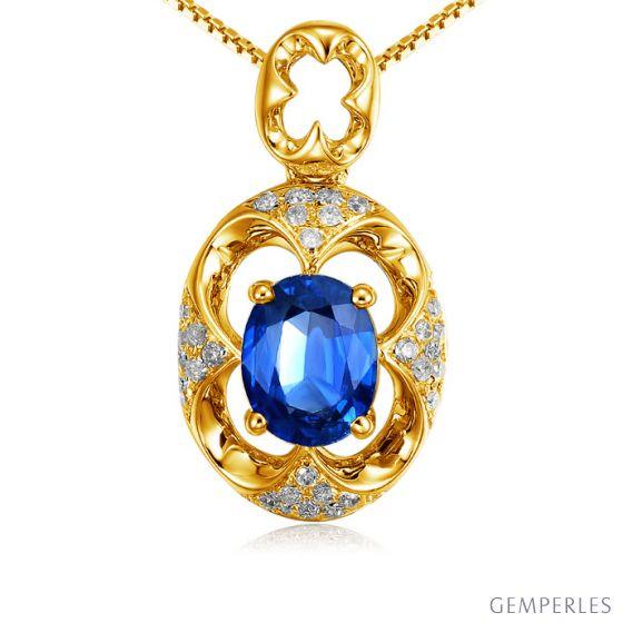 Pendentif Saphir et Diamants - Or jaune 18 carats