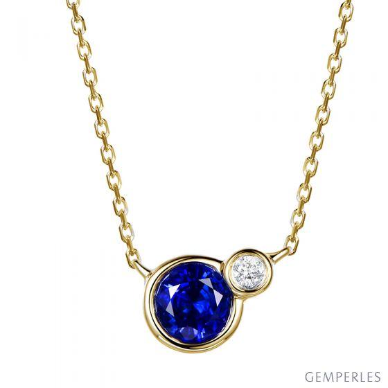 Collier pendentif Or jaune, saphir et diamant sertis clos