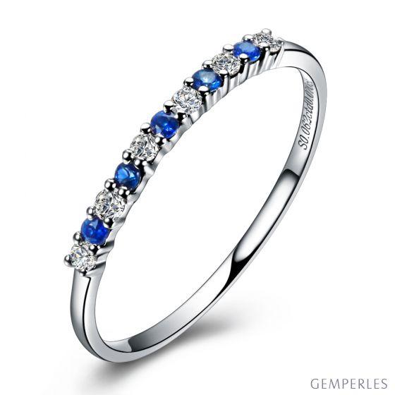 Anneau Diamants et Saphirs en alternance - Or blanc 18 carats