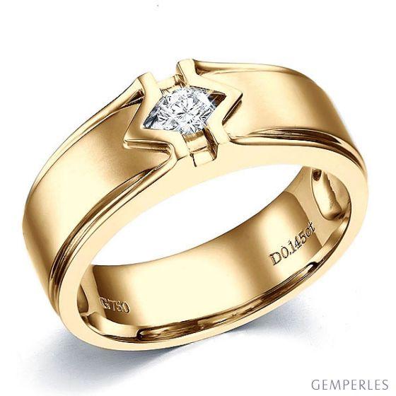 Bague Hommes. Or jaune. Diamant brillant | Louis