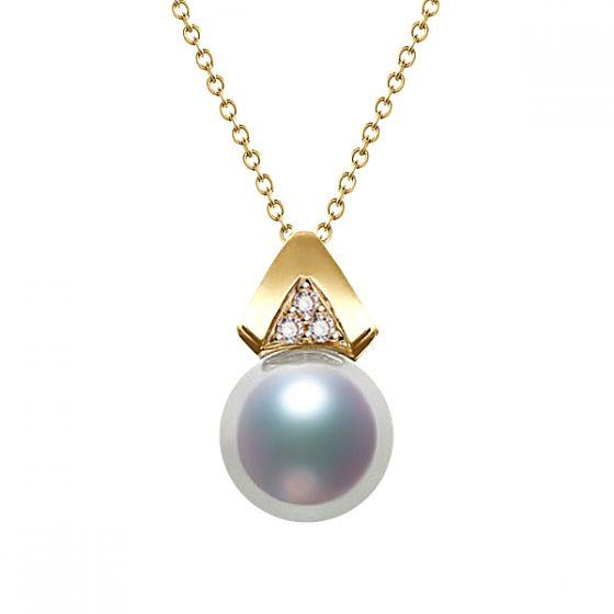 Pendentif triangulaire perle Akoya du Japon, Or jaune et diamants