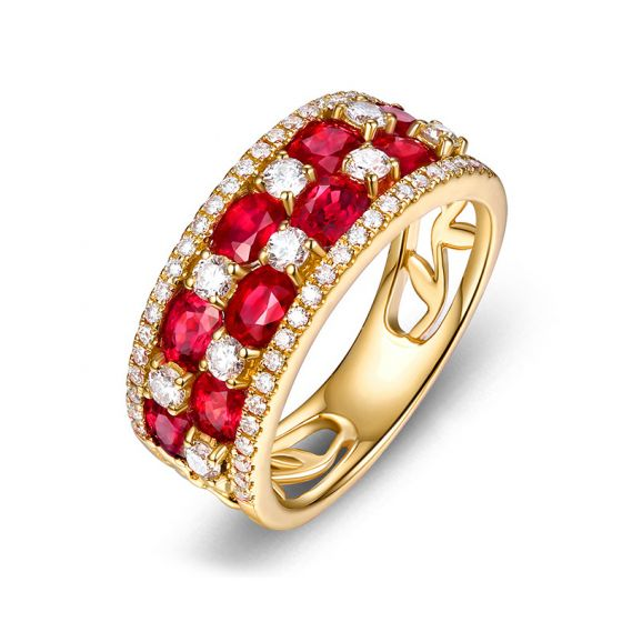 Bague damier Or jaune. Rubis et diamants alternés