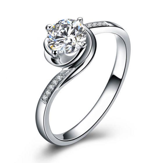 Bague de Fiancailles Rose Vertige - Solitaire Or blanc, Diamants 0.35ct   Gemperles