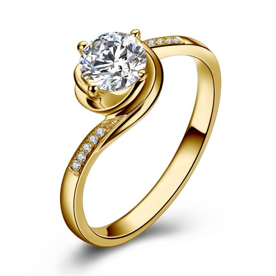 Bague de Fiancailles Rose Vertige - Solitaire Or Jaune, Diamants 0.35ct | Gemperles