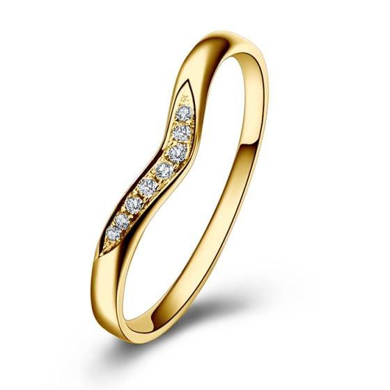 Alliance Ondulée Élysée - En Or Jaune et Diamants Sertis   Gemperles