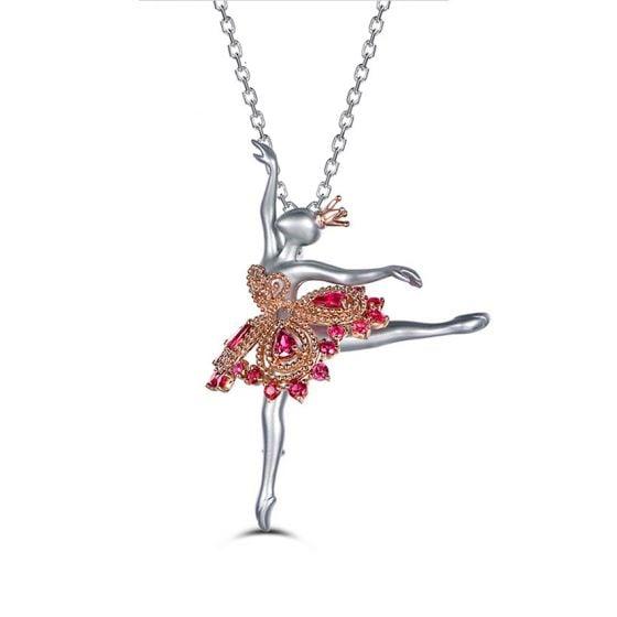 Pendentif Princesse Ballerina - Broche Or blanc - Rubis