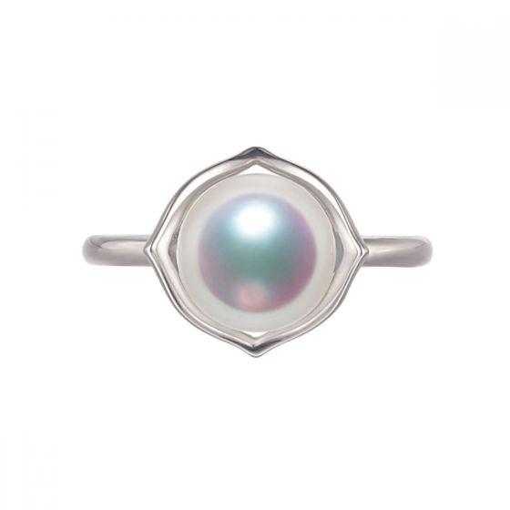 Bague perle de culture - Perle Akoya Japon - Or blanc - Coco Chanel