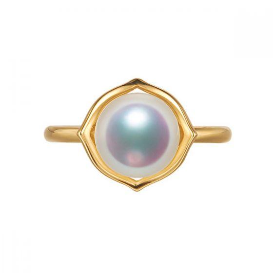 Bague perle de culture - Perle Akoya Japon - Or jaune - Coco Chanel