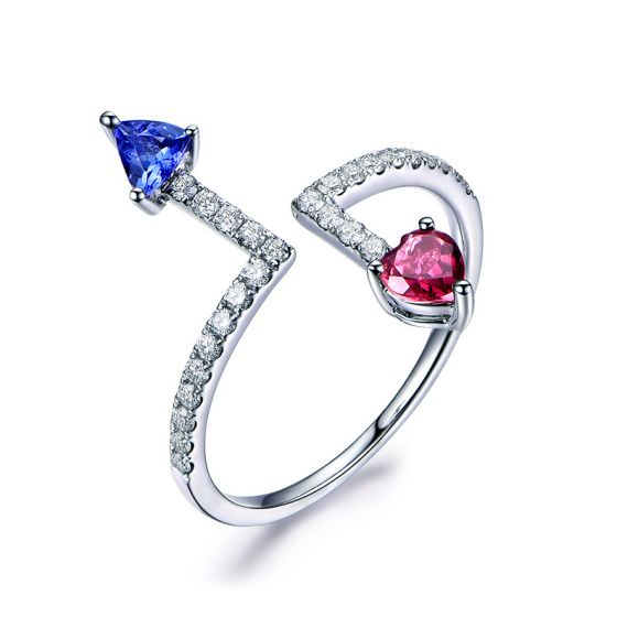 Bague Autre moi. Or blanc, diamants. Tourmaline, tanzanite