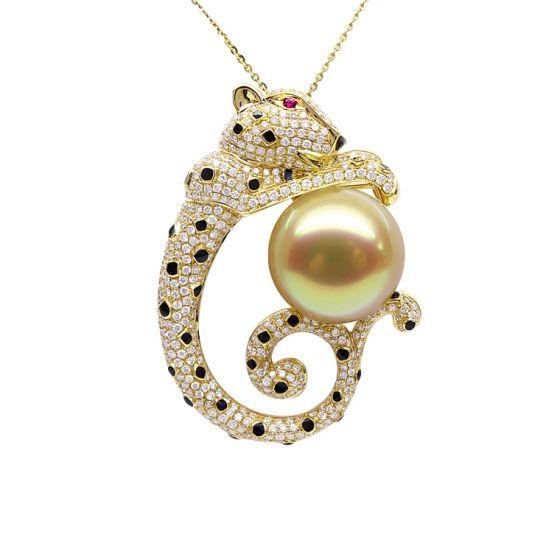 Pendentif Léopard. Perle d'Australie Dorée, Or jaune, Diamants