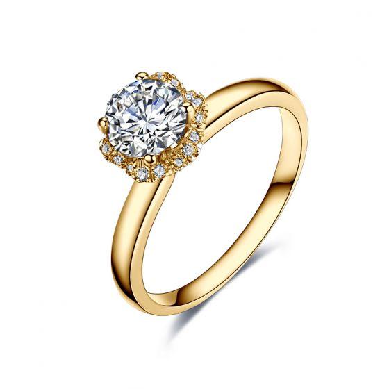 Solitaire Captivante Renoncule - Bague Diamanté & Or Jaune | Gemperles