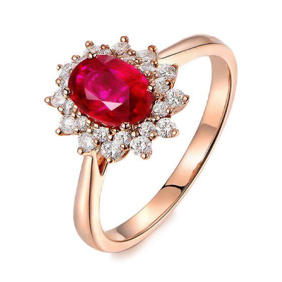 Bague rubis, diamants monture or rose - Création florale classique