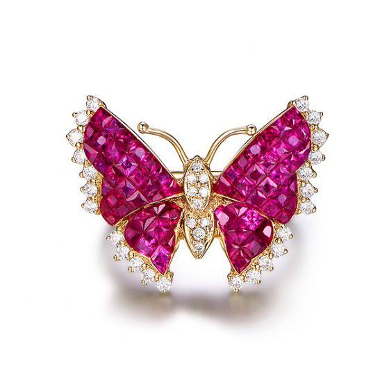 Bague Rubis Birmanie, Or jaune et diamants | Papillon ardent