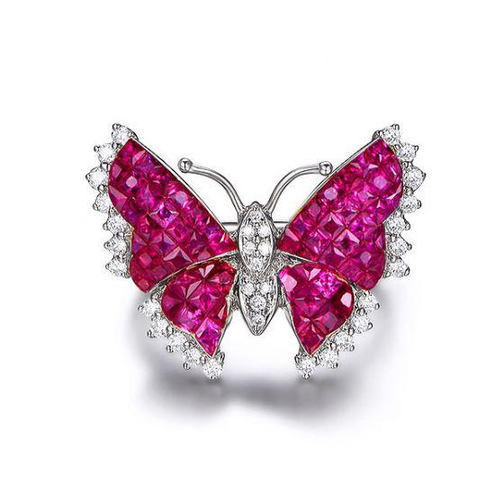 Bague Rubis Birmanie, Or blanc et diamants | Papillon ardent