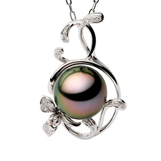 Pendentif Lysette perle de Tahiti, Or blanc et diamants