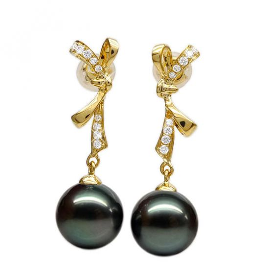 Boucles oreilles ganses - Noeuds papillons - Perles de Tahiti - Or jaune