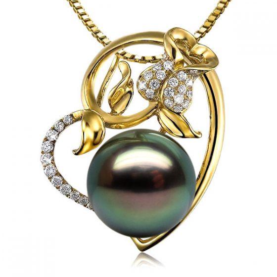 Pendentif rose forme coeur - Perle de Tahiti - Or jaune, diamants pavés - 2