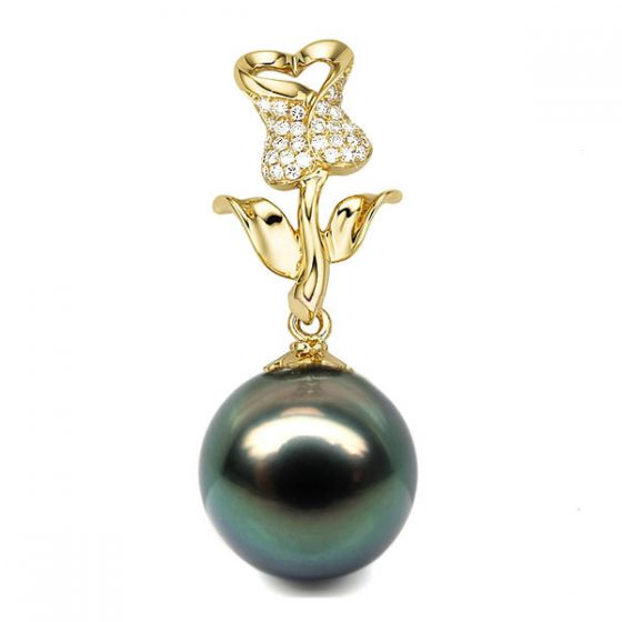 Pendentif la vie en rose. Perle de Tahiti, Or jaune et Diamants - 2