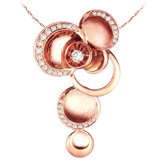 Pendentif raffiné courbes or rose - Diamants 0.339ct