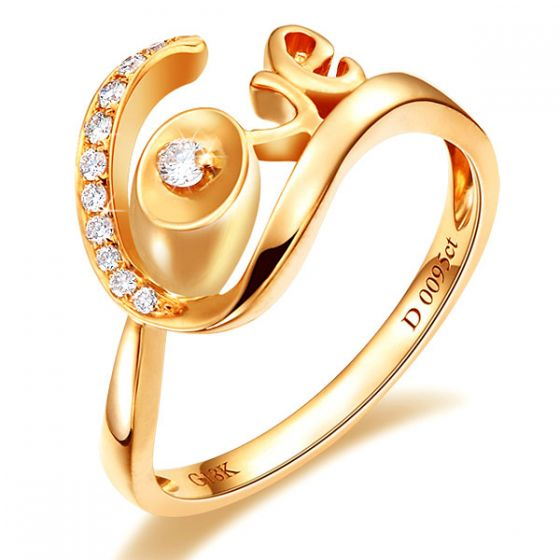 Bague Love - Bague or jaune originale 18cts - Diamants 0.095ct