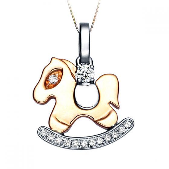 Pendentif cheval à bascule 2 Ors jaune et blanc - 14 Diamants 0.09ct