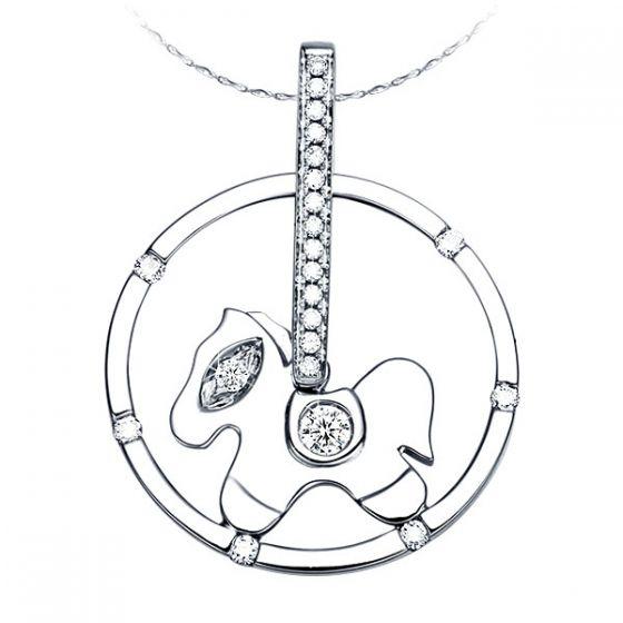 Pendentif cheval or blanc - Bélière, bascule, selle, et oeil diamants
