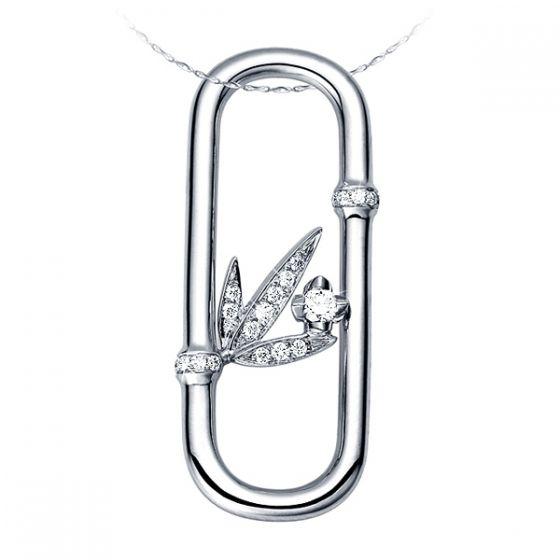 Pendentif feuilles bambou or blanc - Tige incurvée - Noeuds diamantés