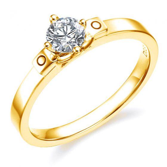 Solitaire angulaire or jaune style contemporain or jaune - Diamant