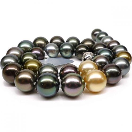 Collier en perles de Tahiti multicolores - Perle de culture - 12/14mm