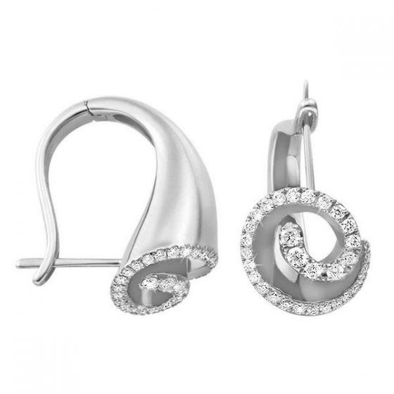 Boucles dormeuses diamants or blanc - Triton de la Mythologie grecque
