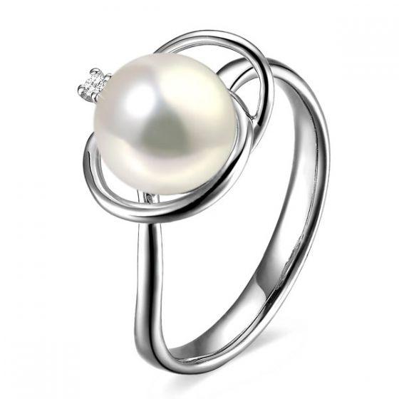 Bague perle d'eau douce blanche - 9/9.5mm, AAA - Or blanc, diamant