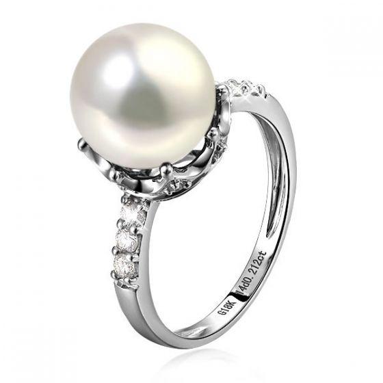 Bague couronne perlée - Perle de culture blanche - Diamants, or blanc