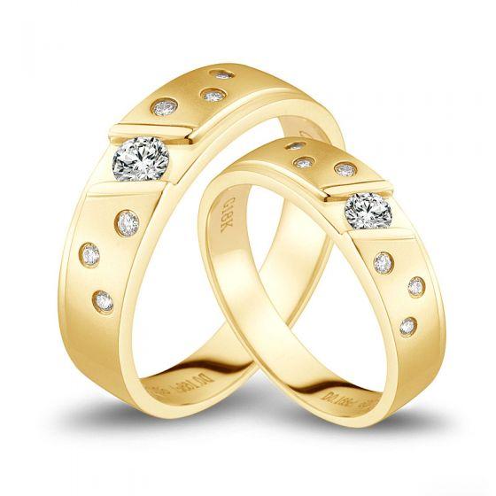 Bagues alliances constellations diamantées - En or jaune 18cts - Duo