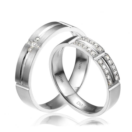 Alliances Couple -Platine - Diamants