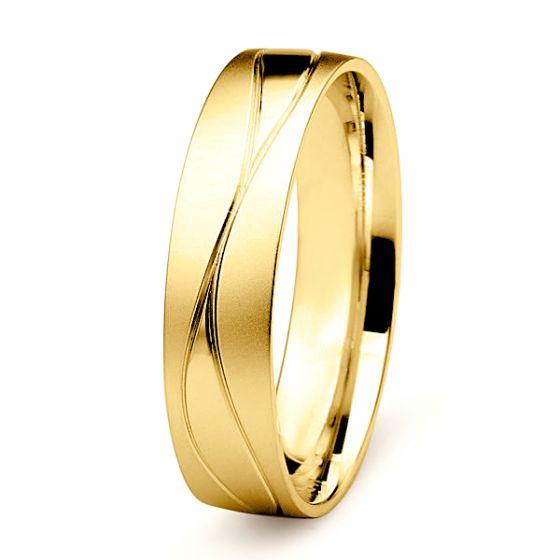 Alliance Homme lignes enchevêtrées - Or jaune 18 carats